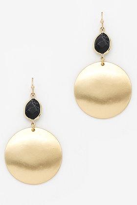 Jet Stone Gold Disc Earrings
