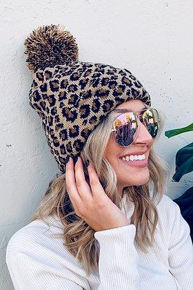 Pom Pom Leopard Beanie