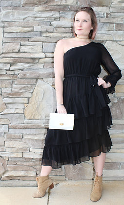 One Sleeve Ruffle Dress