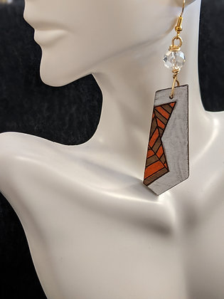 Orange/White Funk Earrings