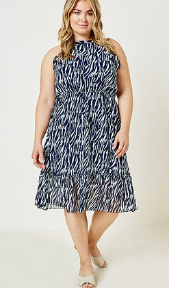 Navy/White Zebra Print Dress