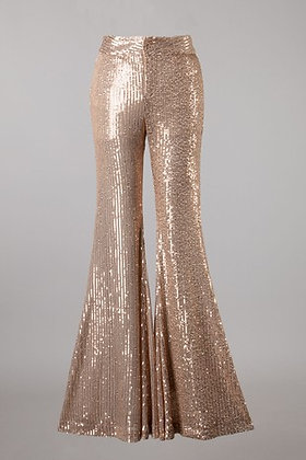 Rose Gold Sequins Flare Pants