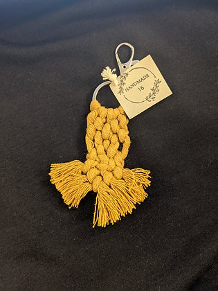Mustard Macrame Keychain