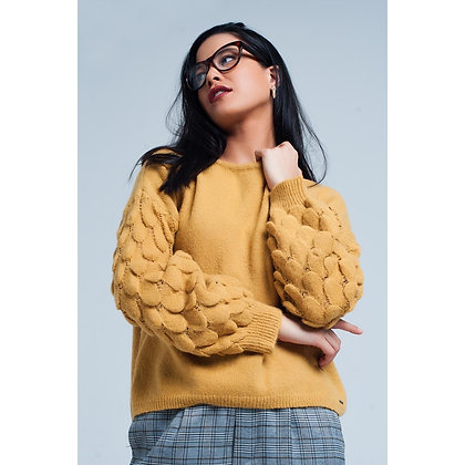(L)Mustard Piped Sweater