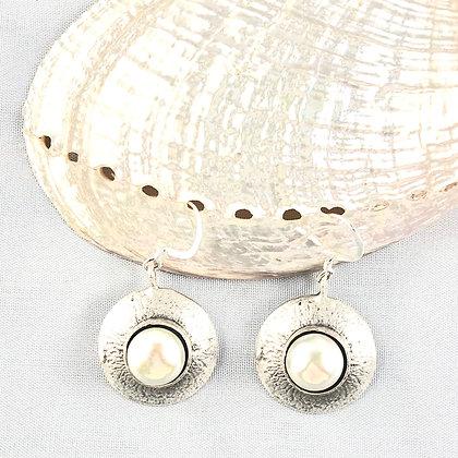 Pearl Disc Earrings