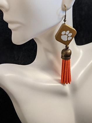 Clemson Tassel Earrings