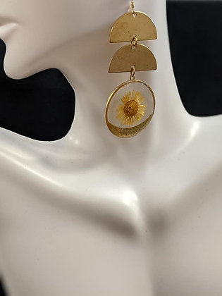 Double Gold Circle Daisy Earrings