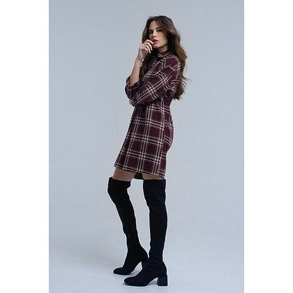 (L)Bordeaux Checked Mini Dress