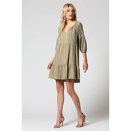 Olive Woven Embroidered Dress