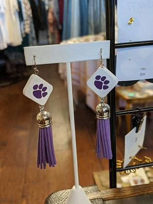 Purple Tassel Clemson Earrings