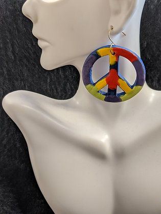 Multicolor Peace Signs Pottery Earrings