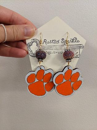 Solid Orange Tiger Paw Earrings