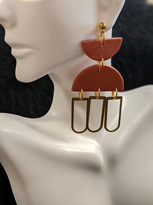 Triple Layer Gold/Rust Earrings