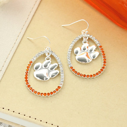Clemson Crystal Loop Earrings
