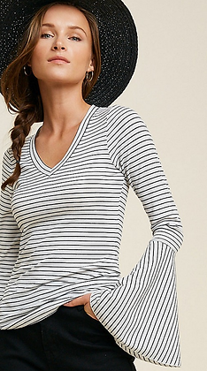 Stripe Flare Sleeve Top