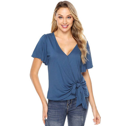 Blue Side Knot Top