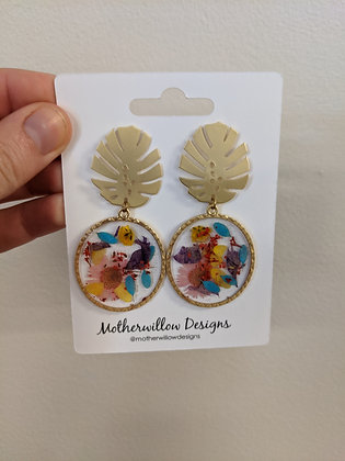 Palm Pendant Pressed Floral earrings
