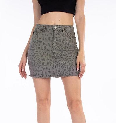 Cheetah Denim Skirt