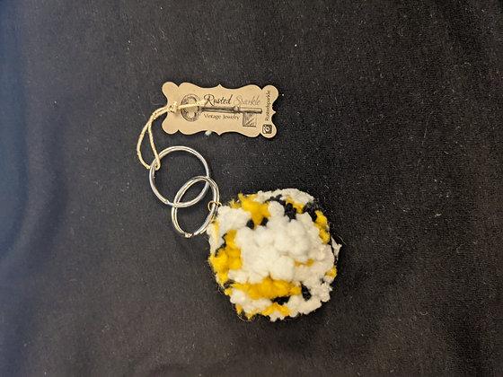 Yellow PomPom Keychain