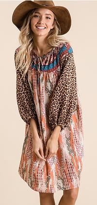 (S)Cheetah Aztec Dress