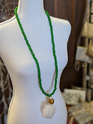 Green Accent Feather Necklace