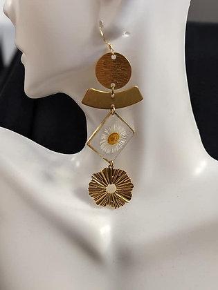 Triple Gold Daisy Earrings