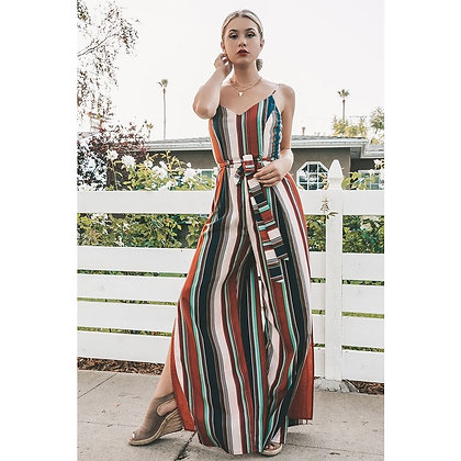 Striped Slit Jumpsuit