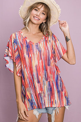 Abstract Stripe Knit Top