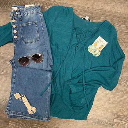 Teal lace up blouse