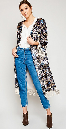 (M/L) Velvet Fringe Kimono