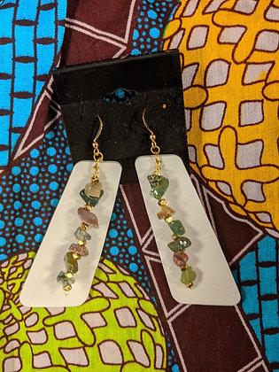 Leather Gemstone Earrings