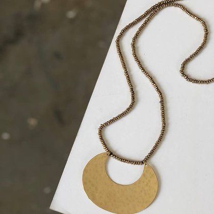 Bold Crescent Hammered Necklace