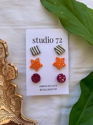 Solid Orange Earring Set