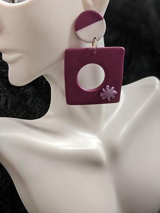 Purple Floral Earring