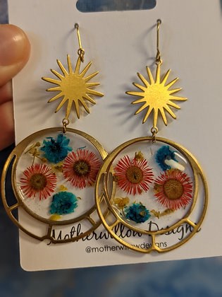 Sunburst Floral pressed earrings