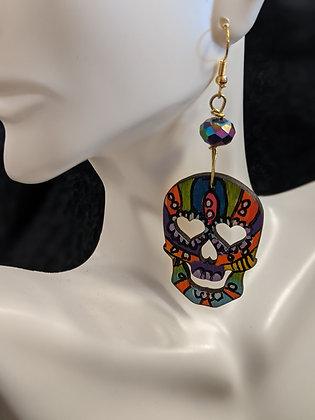 Multicolor Sugar Skull Earrings