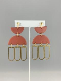 Triple Layer Gold/Rust Earrings