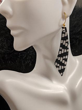 Black/White Italian Leather Earrings