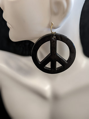 Pottery Peace Signs Earrings
