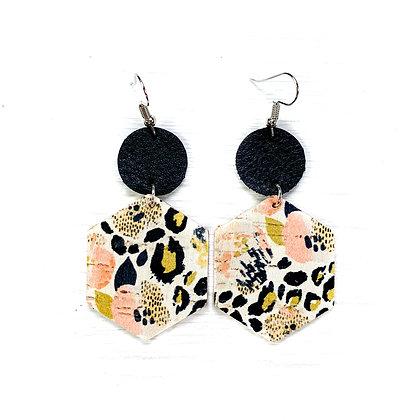 Waterpansies & Leopard Cork Earrings