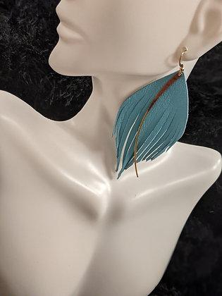 Gold Drop Blue Italian Leather Earrings