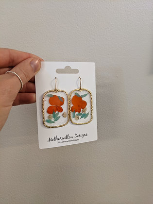 Square Pressed Floral Earrings