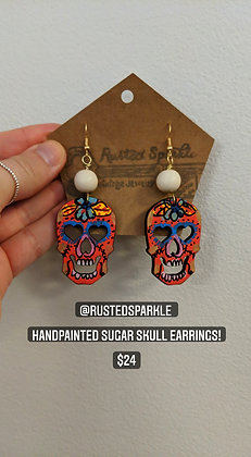 Red Sugar Skull Earrings
