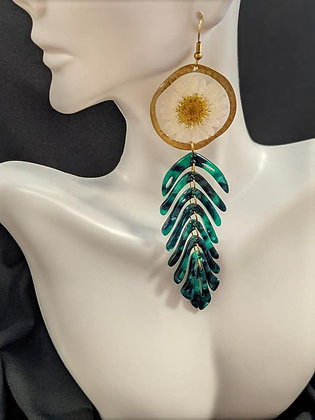 XL leaf dangle daisy earrings