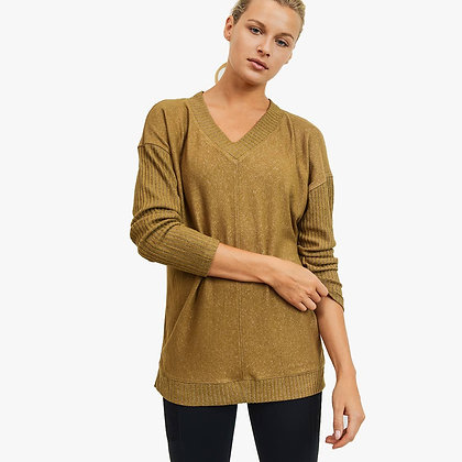 V neck Mixed Hacci Sweater