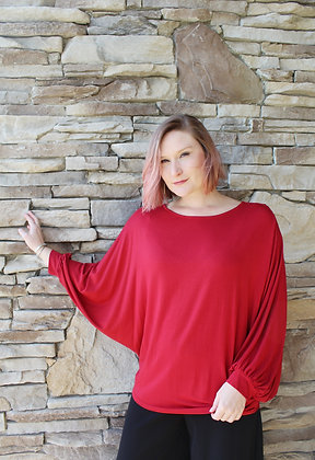 (L) Red Batwing Sleeve Top