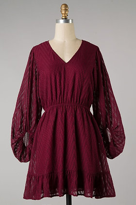 Wine Bubble Sleeve Dress