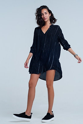 Black Longline Shirt Dress