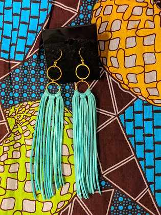 Gold/Turquoise Leather Earrings