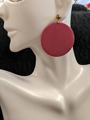 Pink Circle Drop Earrings